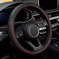 LABBYWAY Microfiber Leather Auto Car Steering Wheel Cover,Universal Fit 15 Inch Anti-Slip Wheel Protector (Black)