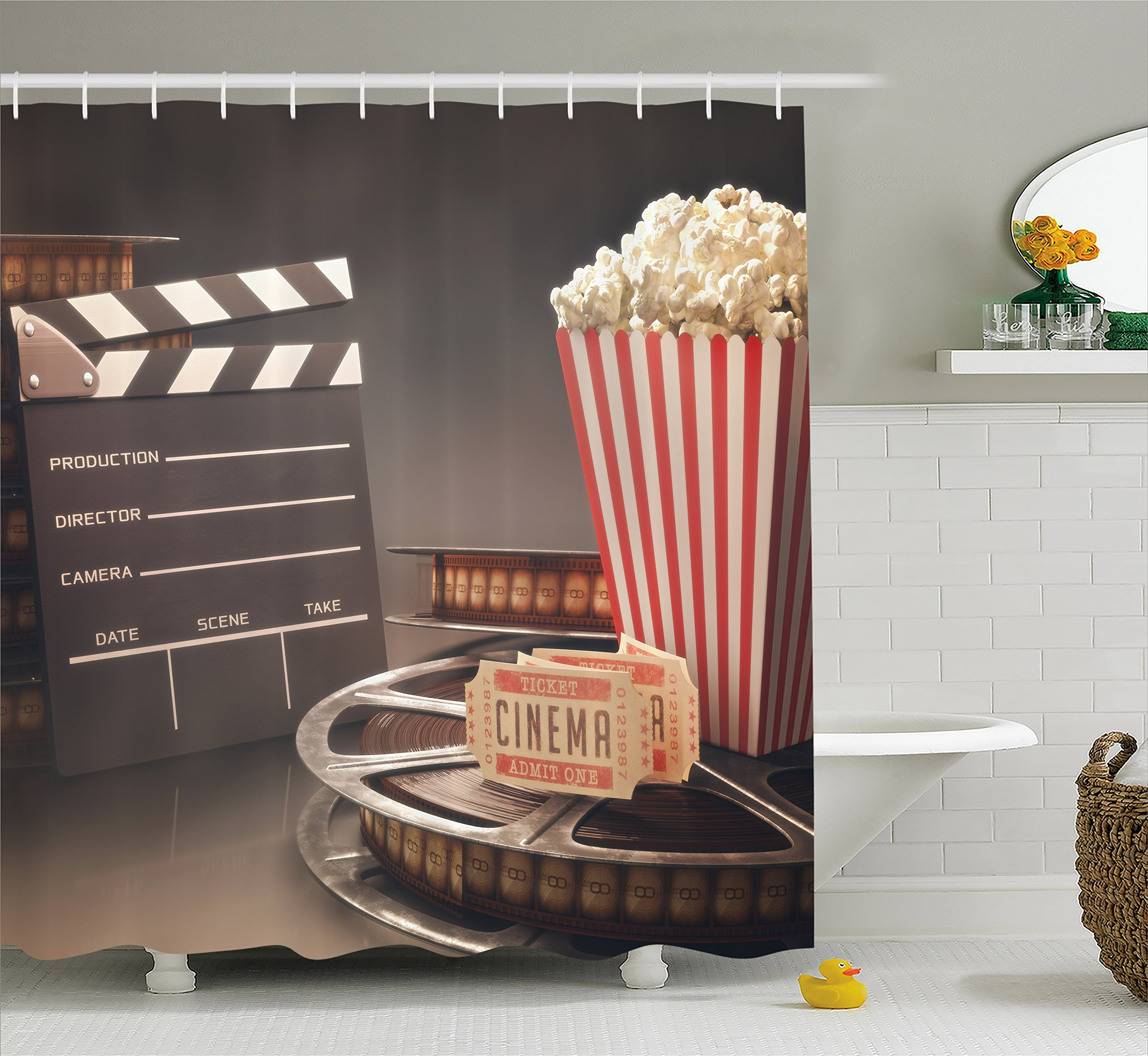 Ambesonne Movie Theater Shower Curtain, Old Fashion Entertainment Objects Related to Cinema Film Reel Motion Picture, Cloth Fabric Bathroom Decor Set with Hooks, 70 Inches, Multicolor