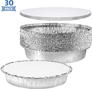 NYHI Round Aluminum Foil Pans 9-Inch | Disposable Tin Foil Pans with Lid Covers | Heavy-Duty Food Container Pie Dish Safe for Freezer & Oven | 30 Pack