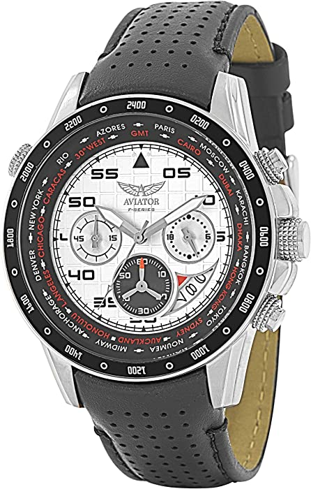 8c973ea70 Chronograph Wrist Watch – Aviators Watch for Men – Leather Strap Stainless  Steel Wristwatch – Waterproof White Dial Watch – Sport and Casual  Comfortable ...