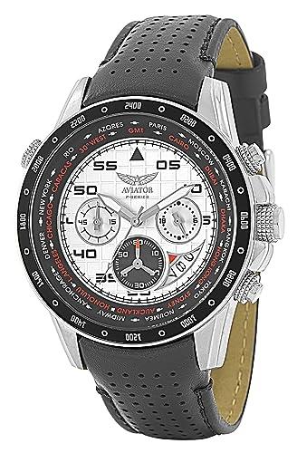Aviator - Reloj con cronógrafo AVW7770G58 - Fabricado en acero inoxidable y con correa de piel en color negro para hombre - Resistente al agua hasta 100 m: ...