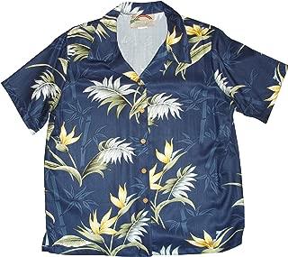 product image for Paradise Found Women's Bird of Paradise Bamboo Aloha Shirt, Navy Blue, S
