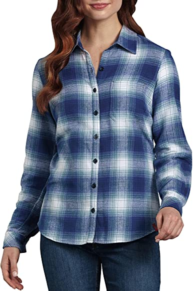 53599624 Dickies Women's Long-Sleeve Plaid Flannel Shirt, Cosmic Clear Blue/Opaque  White,
