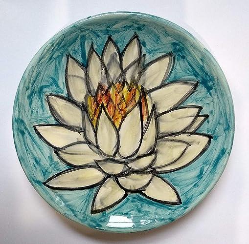 7d2d052a4f3e Nenúfar -Plato de cerámica decorado a mano, diámetro cm 14,5 alto cm ...