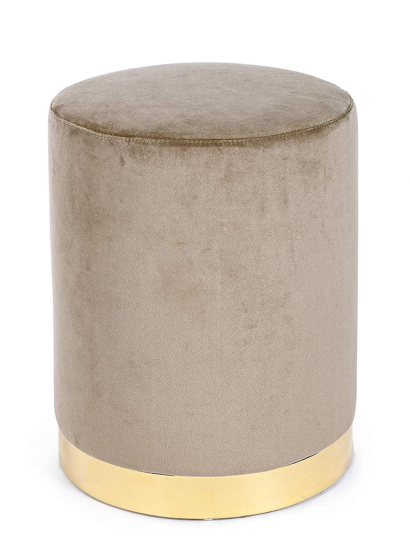 Bizzotto Home Pouf in Velluto Colore Tortora con Base Oro Modello Lucilla Diametro 35 x Altezza 40 cm