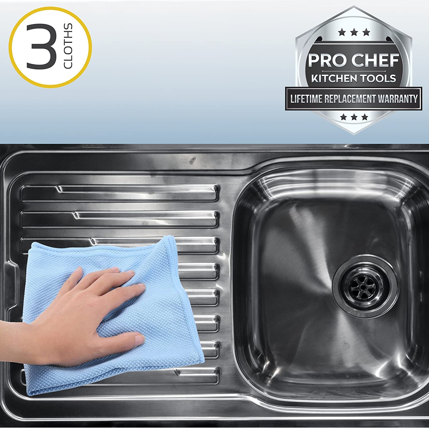 Polish Clean Stainless Steel Sinks Streak Free Window Glass And Bathroom Mirrors Shine Sinks Wet Dry Towel Set 3 Household Wipes And Cloths Pro Chef Kitchen Tools Microfiber Cleaning Cloth