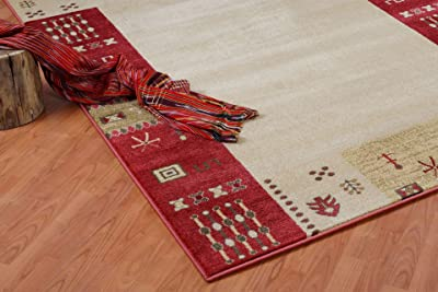 Ladole Rugs Guinea Red Cream Area Rug Oriental Transitional Rug for Living Room, Hallway,