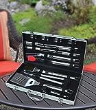 18pezzi Set di utensili per barbecue in acciaio inox con valigetta in alluminio