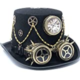 Storm buy ] Steampunk Style Metallic Top Hat Scientist Time Traveler Feather Halloween Costume Cosplay Party