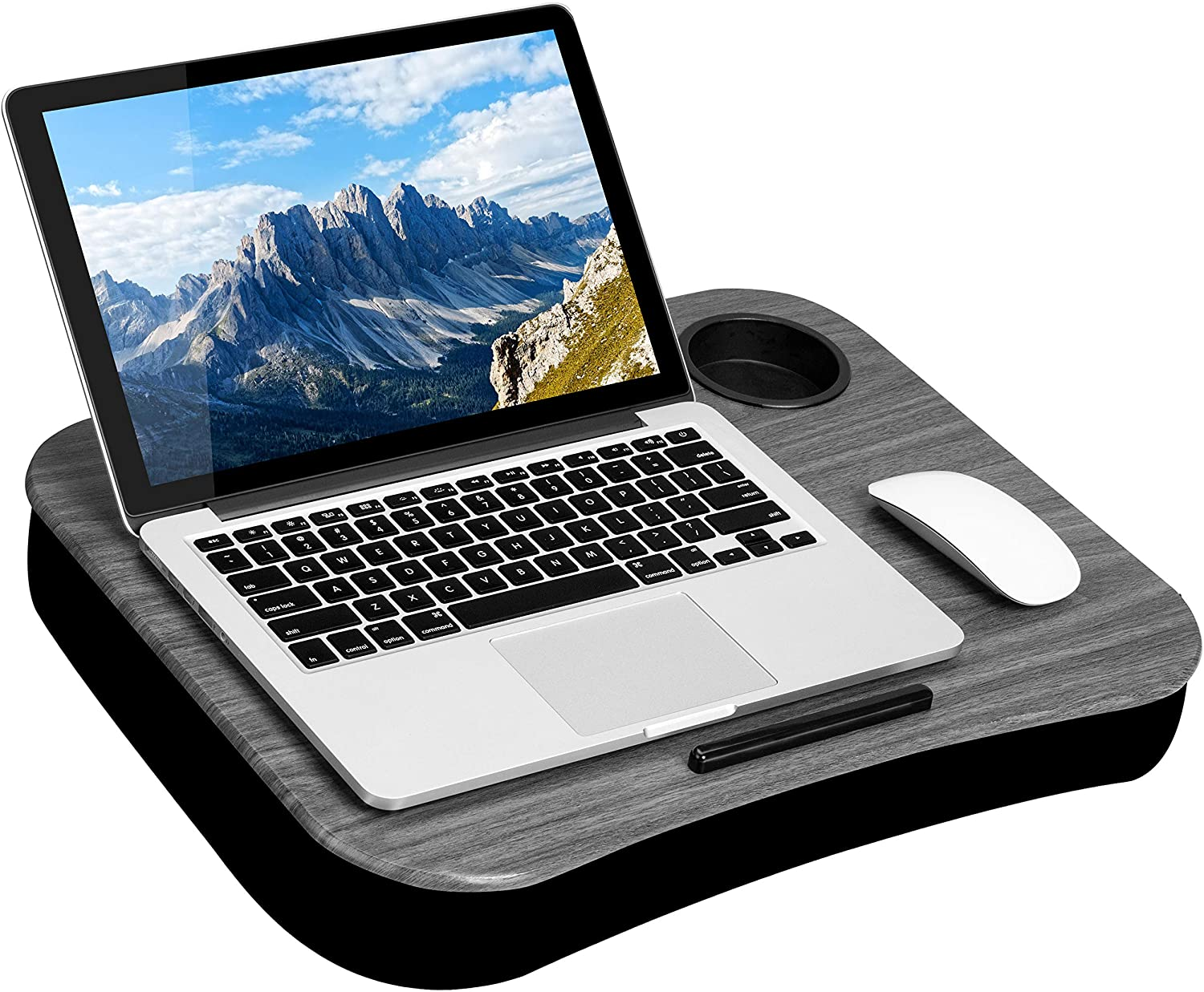 LapGear Cup Holder Lap Desk with Device Ledge Style No Fits up to 15.6 Inch Laptops Gray Woodgrain 46325