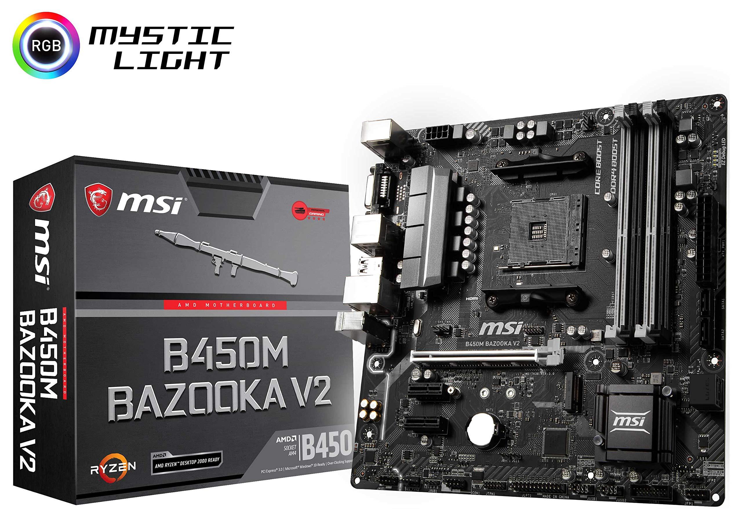 MSI Arsenal Gaming AMD Ryzen 1st and 2ND Gen AM4 M.2 USB 3 DDR4 DVI HDMI Micro-ATX Motherboard (B450M Bazooka V2) by MSI