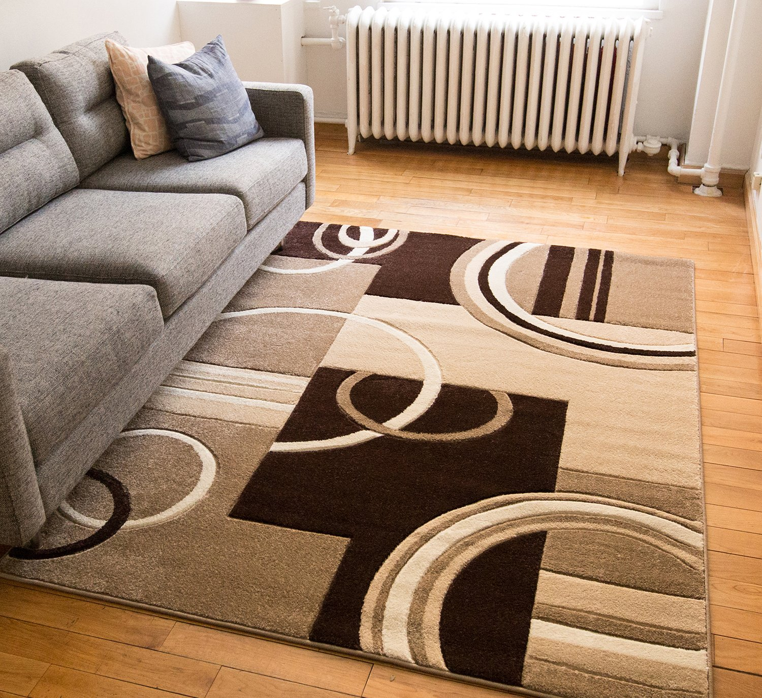 Echo Shapes & Circles Ivory / Beige Brown Modern Geometric Comfy Casual Hand Carved Area Rug 8x10 8x11 ( 7'10'' x 9'10'' ) Easy Clean Stain Resistant Abstract Contemporary Thick Soft Plush Living Room