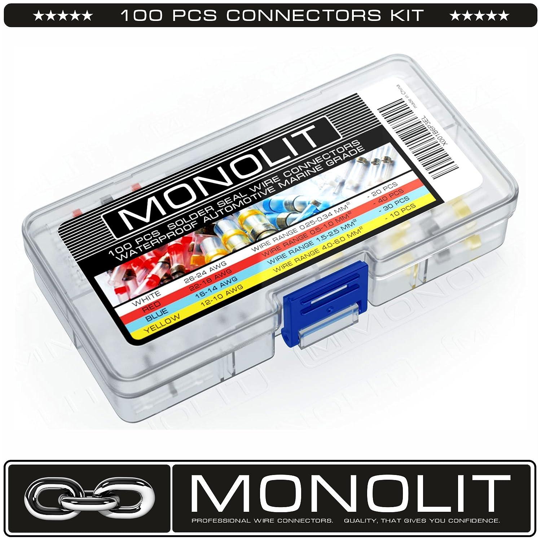 Amazon.com: MONOLIT Premium Heat Shrink Butt Connectors Wire ...