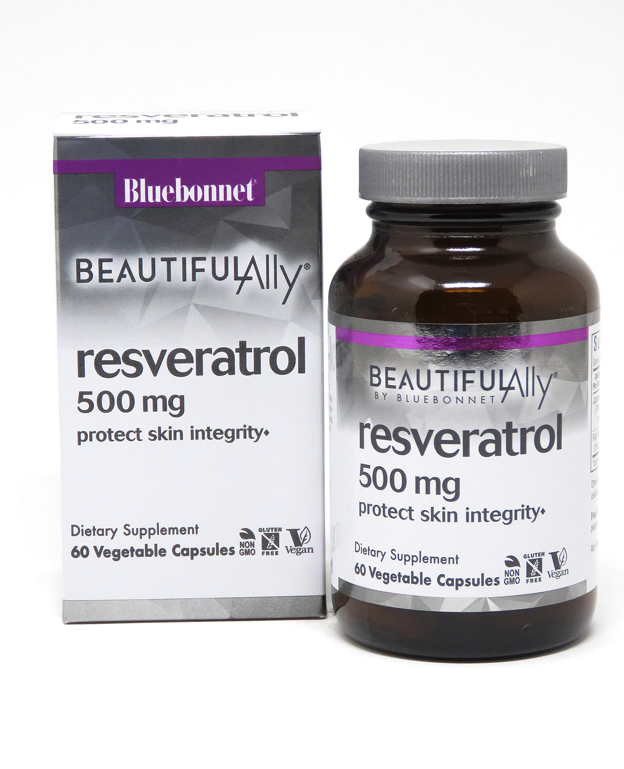 Bluebonnet Nutrition Beautiful Ally Resveratrol 500 mg Vegetarian Casules, 60 count by Bluebonnet