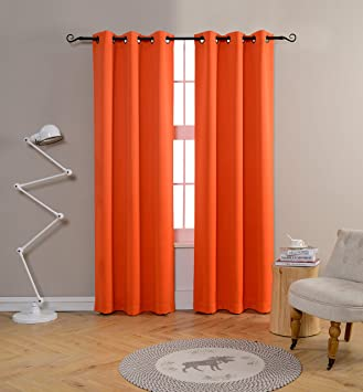 Mysky Home Grommet Top Thermal Insulated Window Blackout Curtains For Dining Room 42 X 84