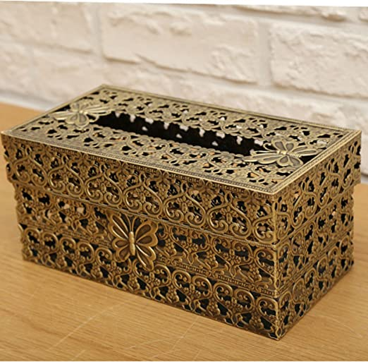 Tin Metal Tissue Box Cover with Vintage Pattern