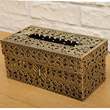 Amazon SEHAMANO Vintage Rectangle Tissue Holder Antique Adorable Decorative Metal Boxes With Lids