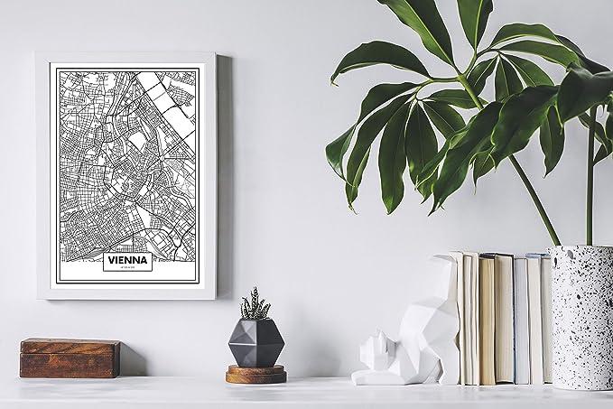 Panorama® Cuadro Cartón Pluma Mapa de Viena 21 x 30 cm | Impreso en Cartón Pluma Cuadros Modernos Decoración Salón | Cuadros para Dormitorio | Láminas ...
