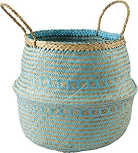 "Large 13""x14.2"" Seagrass Belly Basket with Handles 