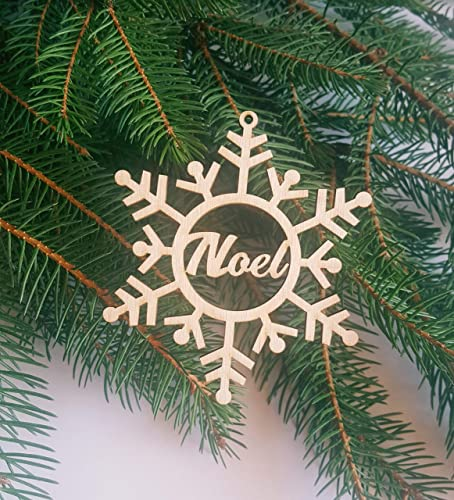 Engraved Wooden Snowflake PERSONALIZED SNOWFLAKE ORNAMENT  Personalized Christmas Decoration Handmade Custom Christmas Ornament