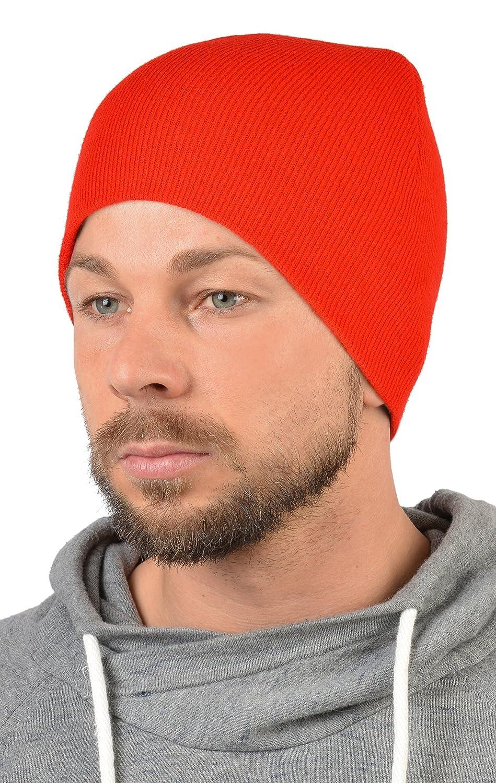Herren Strickmütze - doppellagig ohne Umschlag, Skimütze, Wintermütze in rot