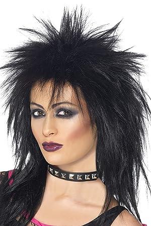 Smiffys Peluca de diva del rock, negra, larga corte mullet