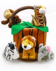 0897408d23dd Play22 Plush Talking Stuffed Animals Jungle Set - Plush Toys Set with  Carrier for Kids Babies