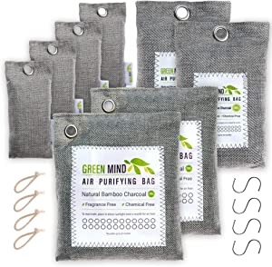 Green Mind Supply Bamboo Charcoal Air Purifying Bag 16 Piece Kit (2x200gm, 2x100gm, 4x50gm, 4 Hooks & 4 Robes) Activated Charcoal Bags