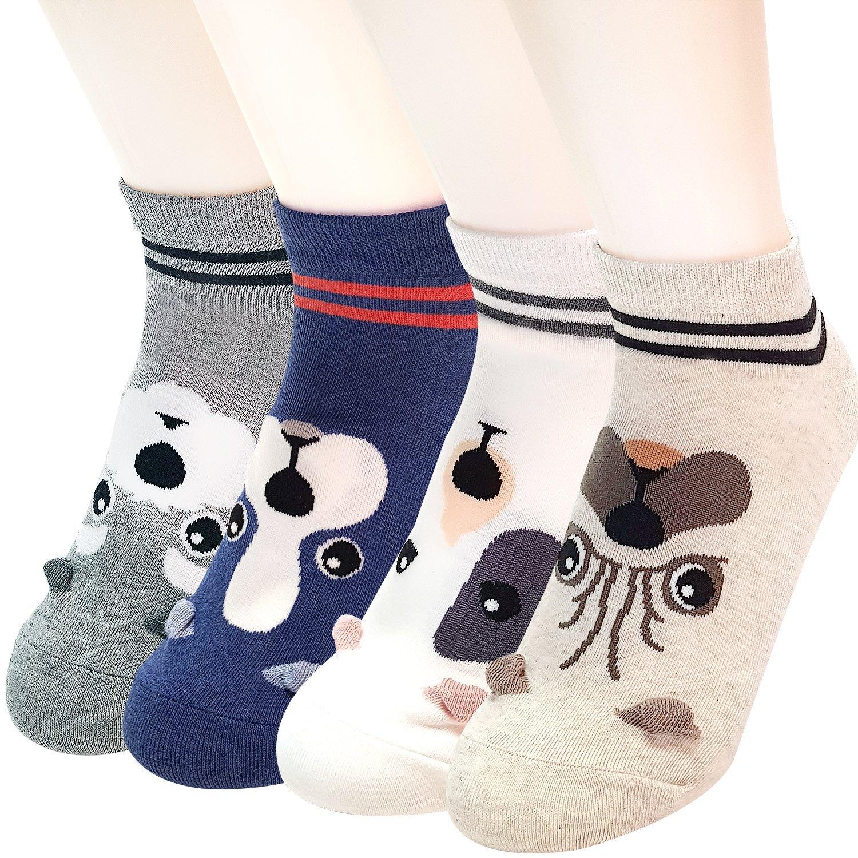 Calcetines de algodón JYsense con divertido diseño de dibujos de animales, con estilo informal y talle único (ideales para hacer un regalo). Mujer color Face Dogs 4Pairs tamaño Talla única