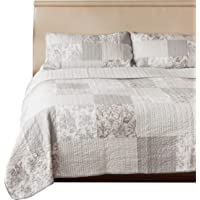 SLPR Silver Linings 3-Piece Real Patchwork Cotton Quilt Set (King) | with 2 Shams Pre-Washed Reversible Machine Washable Lightweight Bedspread Coverlet