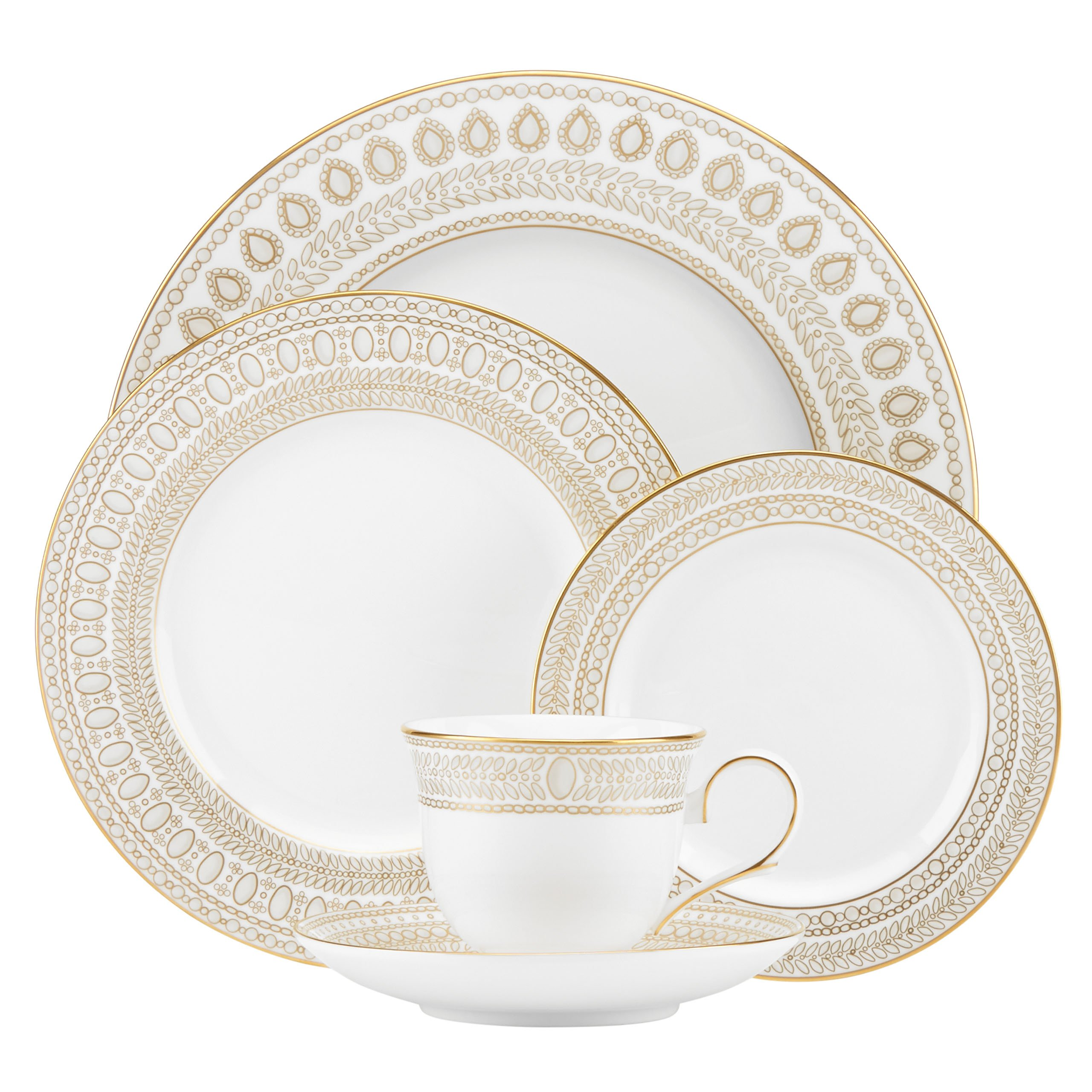 Lenox Marchesa Gilded Pearl 5 Piece Place Setting, White by Lenox