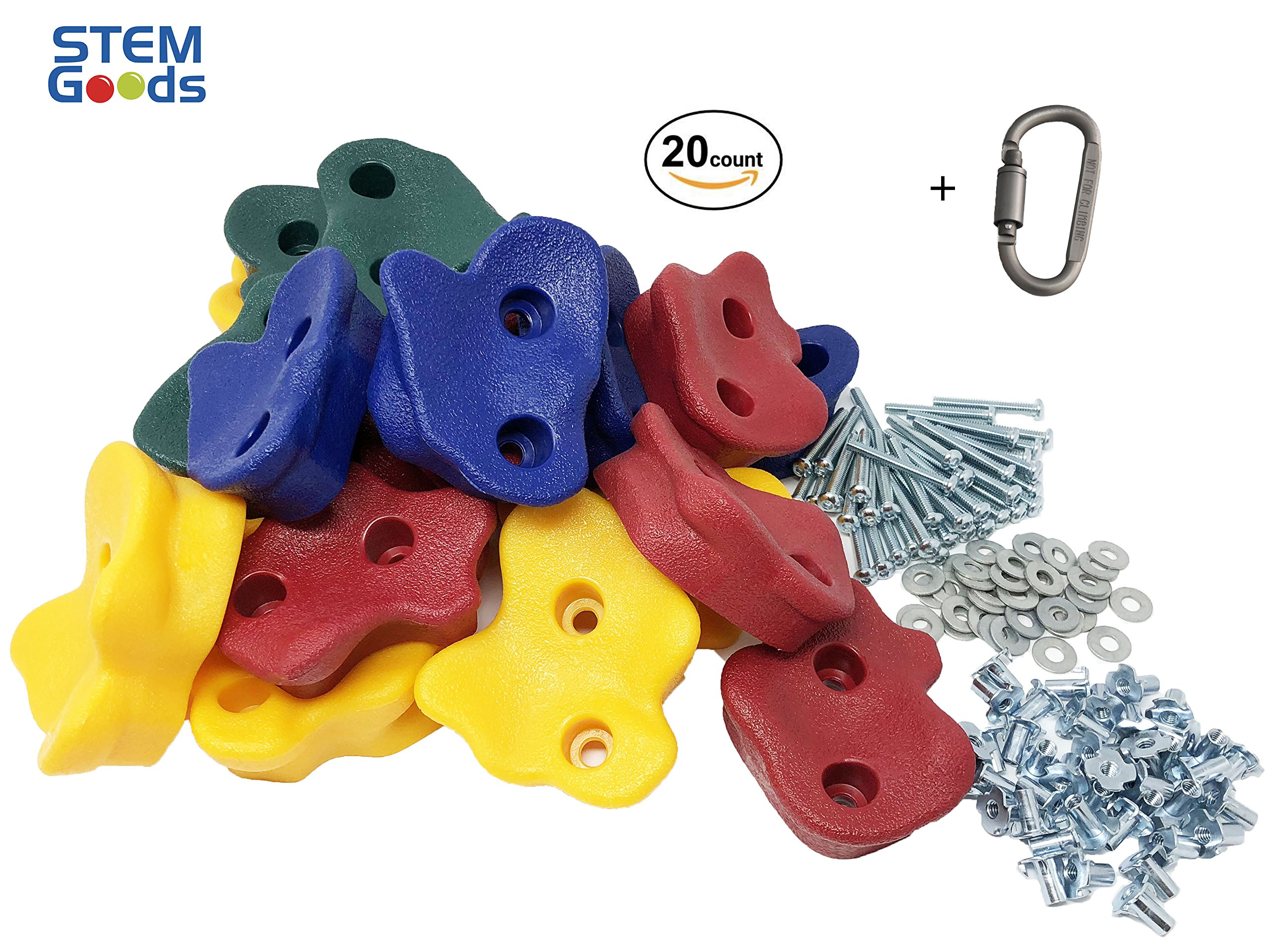 20 Premium Large Textured Kids Rock Climbing Wall Holds with Quality 2'' Mounting Hardware + Carabiner Clip + Installation Guide w Video! by STEM Goods