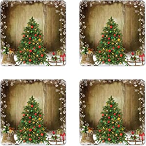 Ambesonne Christmas Coaster Set of 4, Pine Tree with Present Boxes on Snowy Board Xmas at Countryside Theme, Square Hardboard Gloss Coasters, Standard Size, Brown Green