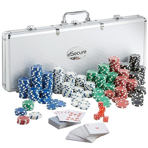 eSecure - Professional 11.5g 500pcs Poker Set inc. Dice, Dealer & Blind Buttons, 2 Card Decks & Aluminium Carry Case