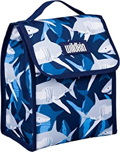 Wildkin Kids Insulated Lunch Bag for Boys and Girls, Lunch Bags is Ideal Size for Packing Hot or Cold Snacks for School and Travel, Mom's Choice Award Winner, BPA-Free, Olive Kids (Sharks)