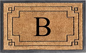 "A1 HOME COLLECTIONS A1HOME200128-B A1HC-Designer Hand-Crafted Rubber & Coir Frame Molded Double Door Mat, Perfect and More Functional Size 24""X36"" Monogrammed, B"