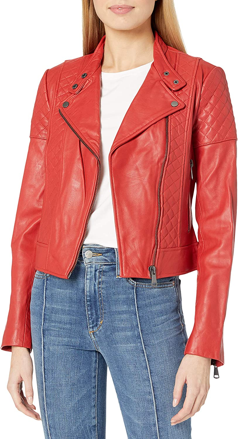 Bagatelle womens Leather Quilted Moto Jacket Leather Jacket