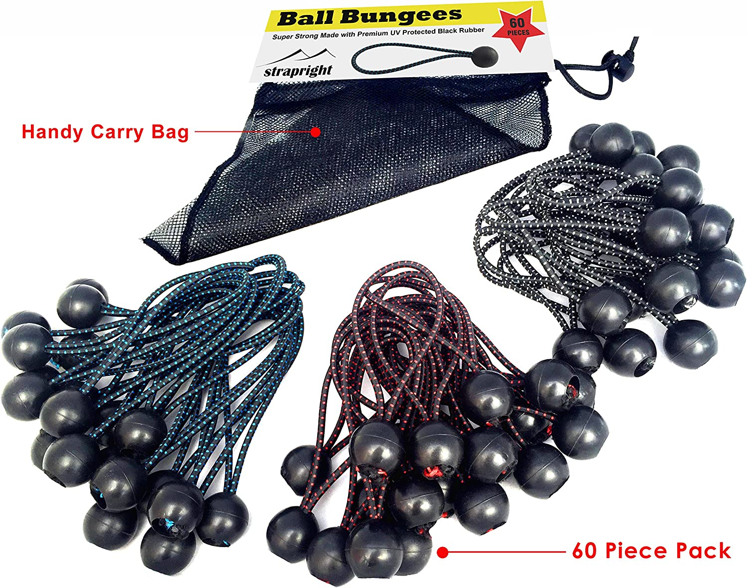 Quality 60 Pack of 3 Size Tarp Heavy Duty Black UV Treated Stretch Tie Loops with Plastic Toggle Color Coded Cord to Indicate Size Banner /&Canopy Fasteners Premium Ball Bungee Cords 60 Pack