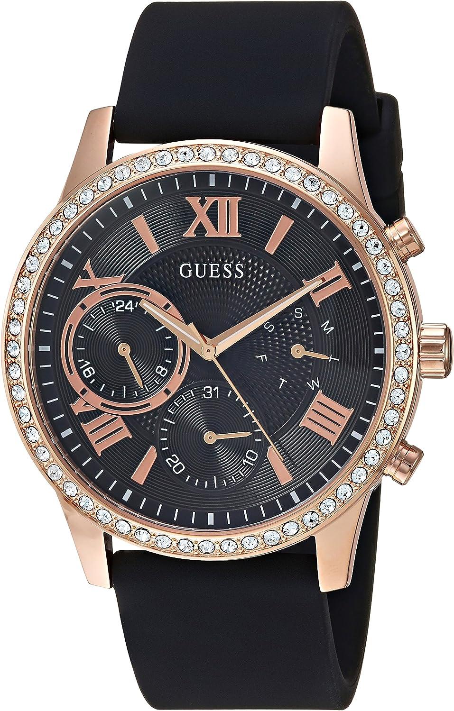 GUESS Reloj de cuarzo para mujer, acero inoxidable y silicona, color negro (modelo: U1135L4)