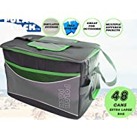 Polar Pack Extra Large 48 Can Cooler Bag for Camping Hiking Events School Travel Concerts & Sports (Black/Char/Lime)