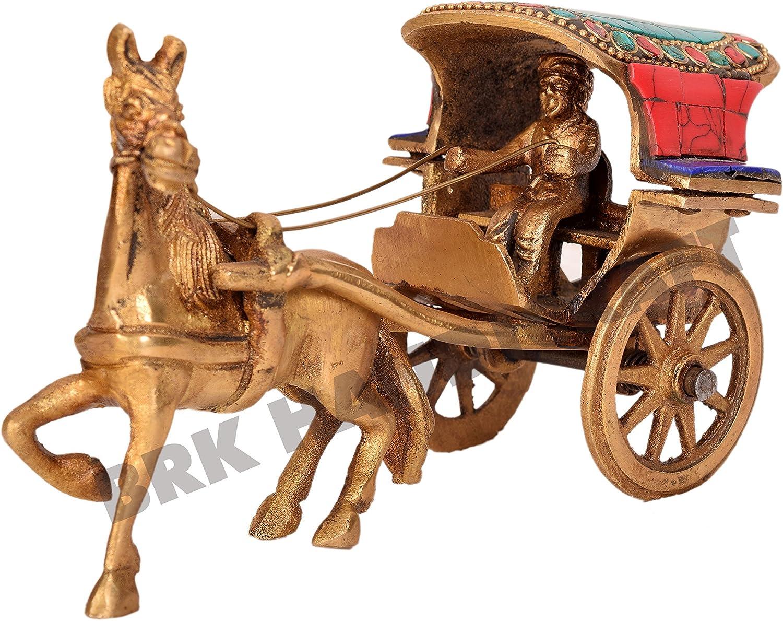 Animal figura decorativa latón hecho a mano Caballo Carro Indio Antique Home decorativo Showpiece