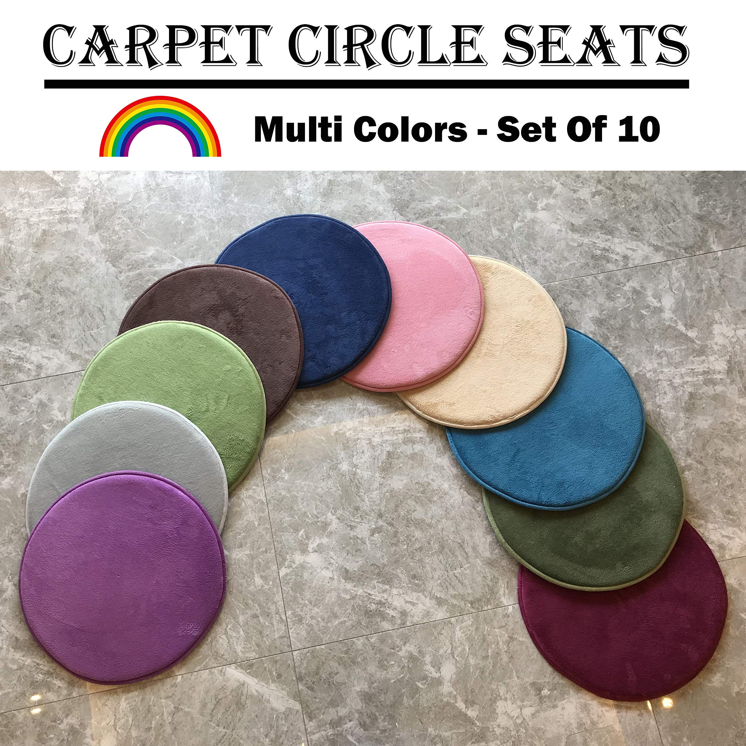 """10 Kids Floor Mat & Cushions - 20"""" Round Soft Warm Carpet Circle Seats   Colorful Rug Mats for Classroom, Home, Story Time, Group Activity, Play Area & Sitting Spot Marker"""
