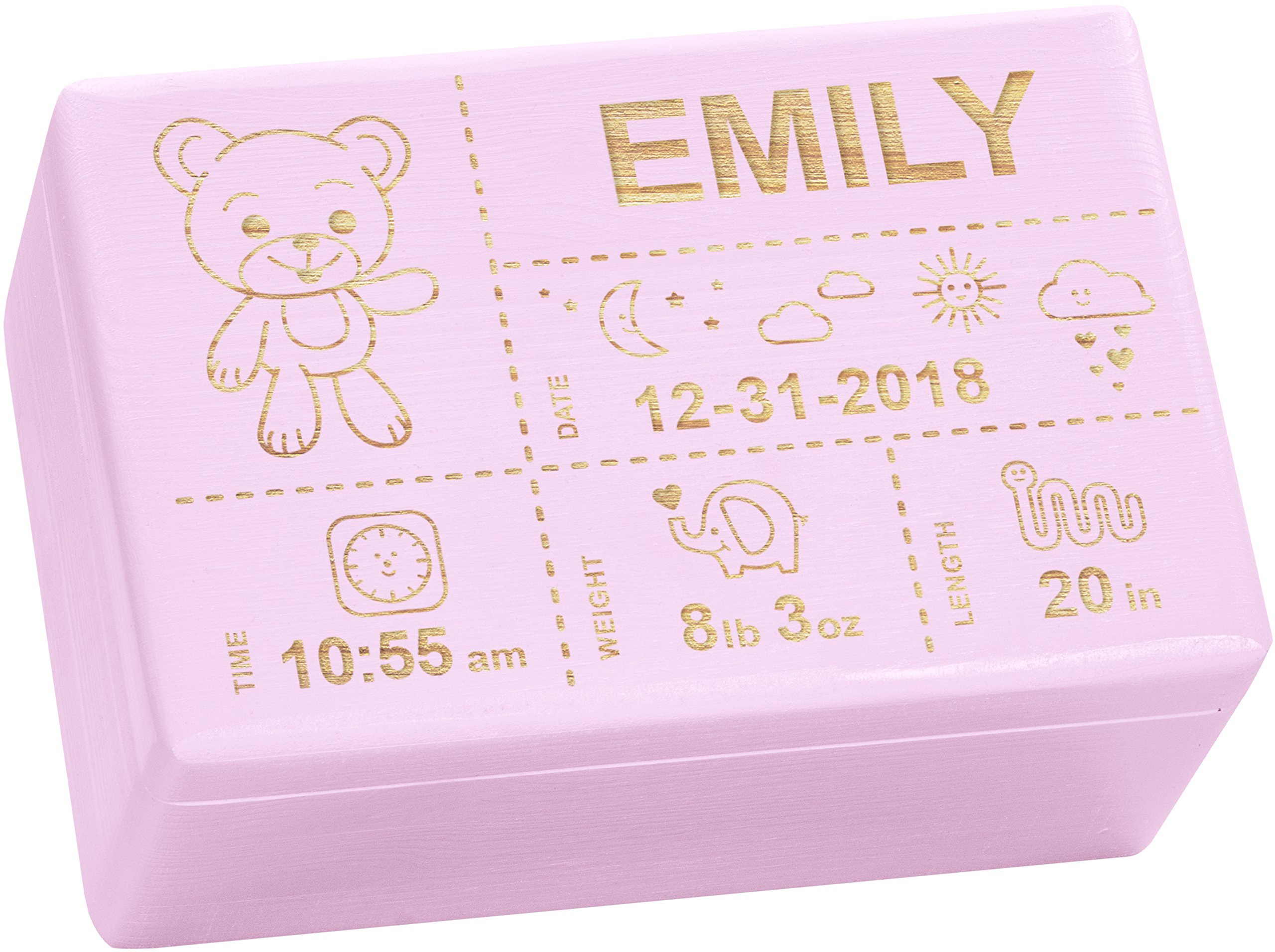 LAUBLUST Engraved Wooden Memory Box - Size L, 12x8x6in - ❤️ Personalized ❤️ Baby Keepsake Box - Teddy Design | Painted Pink - Made in Germany
