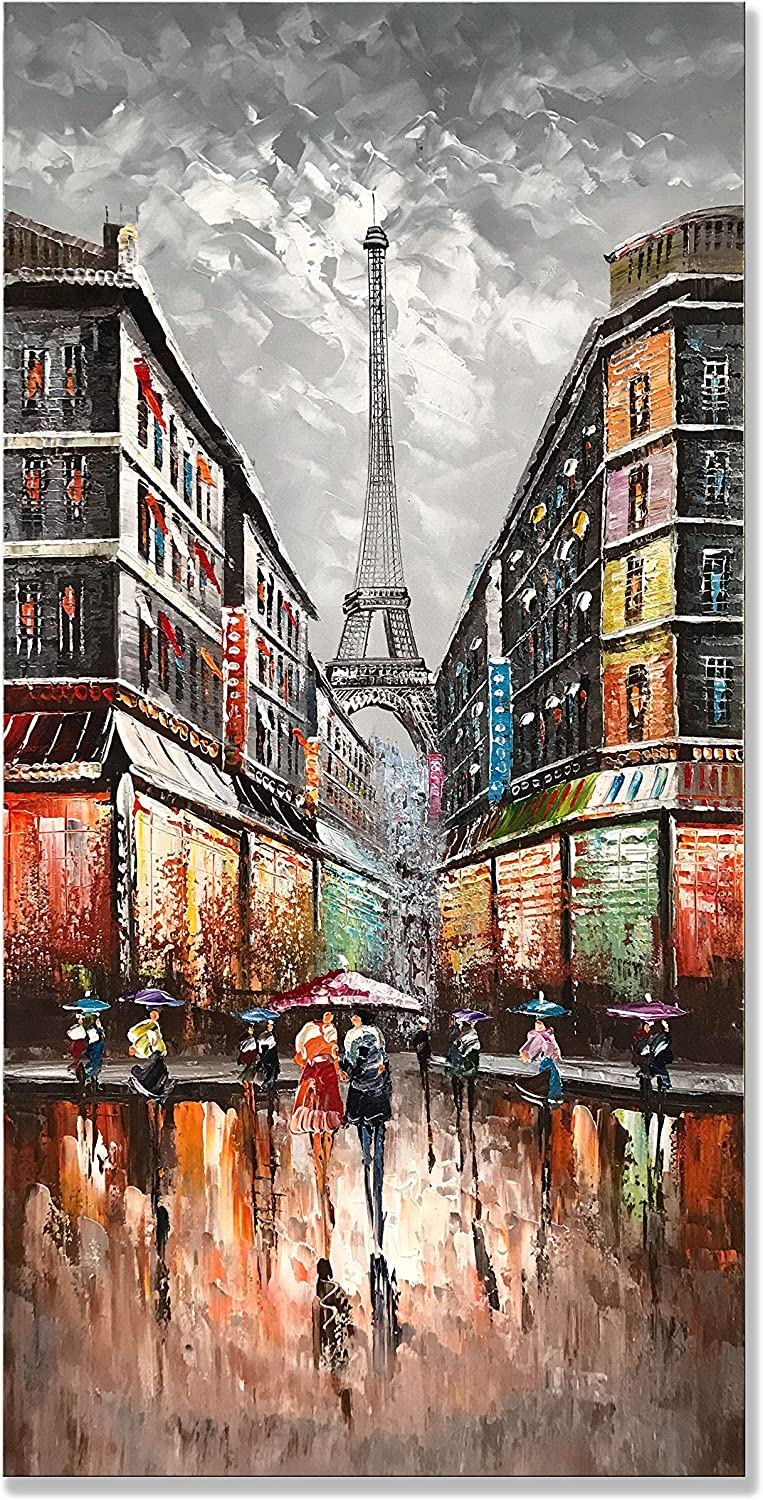 zoinart 100% Hand Painted Abstract Oil Paintings 24x48 inch Eiffel Tower Cityscape Wall Decorations Grey Artwork Modern Canvas Vertical Large Wall Art Decor for Living Room Bedroom Dining Room