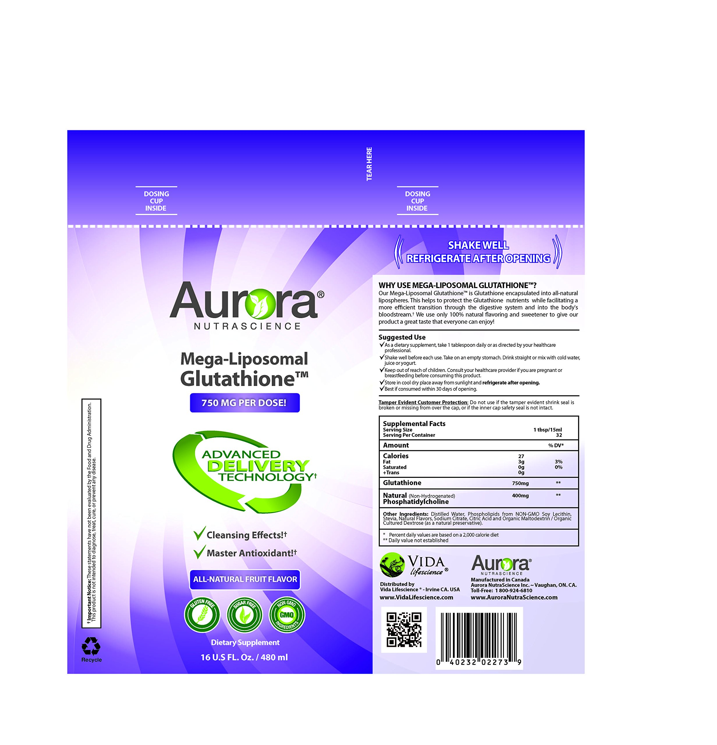 Aurora Nutrascience Mega-Liposomal Glutathione 16 oz