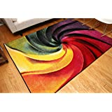 Feraghan/Radiance Collection Art Contemporary Collection Modern Swirl Wool Area Rug, 8' x 10', Yellow/Blue/Orange/Purple