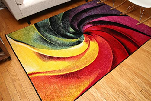 Feraghan Radiance Collection Art Contemporary Collection Modern Swirl Wool Area Rug, 8 x 10 , Yellow Blue Orange Purple