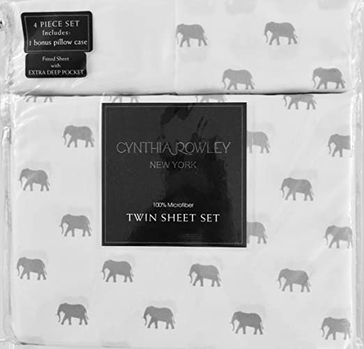 NEW Cynthia Rowley Teal Elephants on White Background 3 Piece Sheet Set Twin