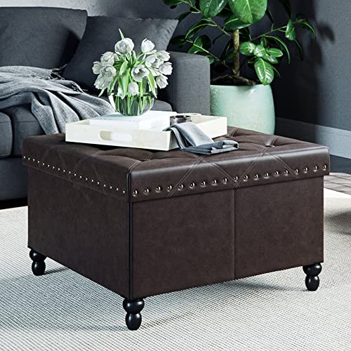 Nathan James Foldable Storage Ottoman Leather Square Seat, Brown
