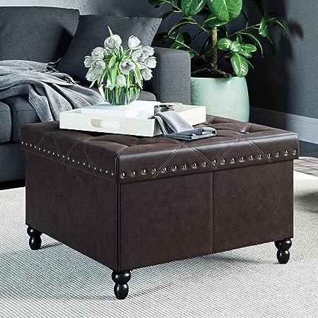 Nathan James 73303 Fodable Storage Ottoman Leather Square Seat, Brown